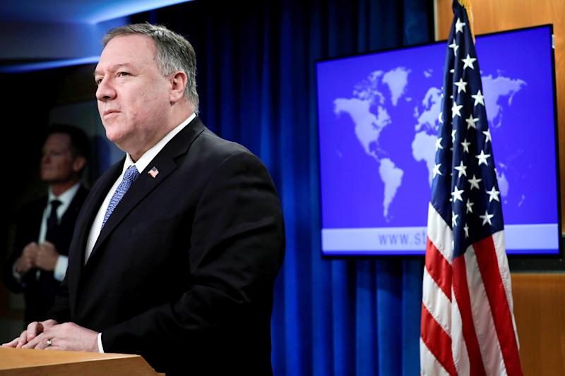 Image: Secretary of State Pompeo speaks to the media in Washington (Yuri Gripas / Reuters)