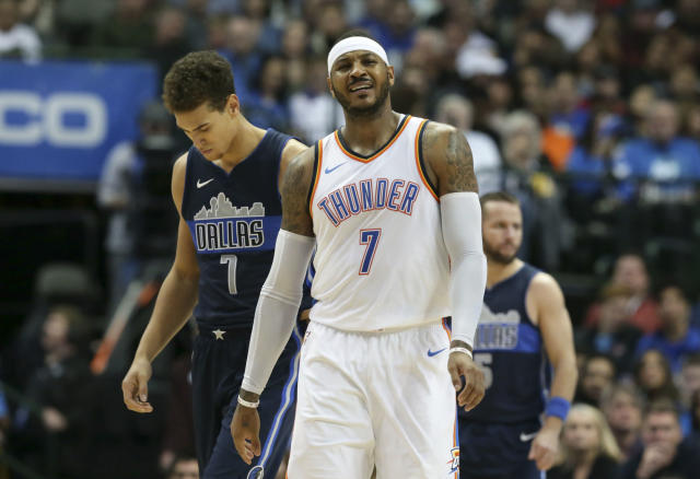 "<a class=""link rapid-noclick-resp"" href=""/nba/players/3706/"" data-ylk=""slk:Carmelo Anthony"">Carmelo Anthony</a> hasn't forgotten his time in New York just yet. (AP Photo)"