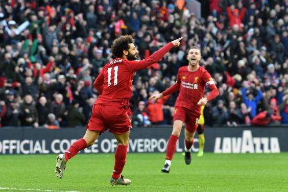 Mohamed Salah celebrates his first goal for Liverpool (AFP via Getty Images)