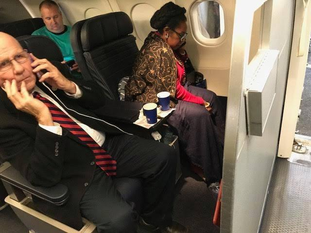 Jean-Marie Simon is claiming United Airlines gave away her reservation in order to place U.S. Rep. Sheila Jackson Lee, right, in her seat. United denies the customer's claims, saying Simon canceled her flight. (Photo: Jean-Marie Simon)