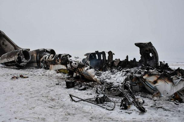 PHOTO: The wreckage of a U.S. military aircraft that crashed in Ghazni province, Afghanistan, is seen on Jan. 27, 2020. (Saifullah Maftoon/AP)
