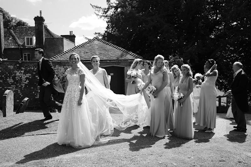 A flurry of excitement while we all assemble outside the church for the start of the ceremony. Running a little late as always!