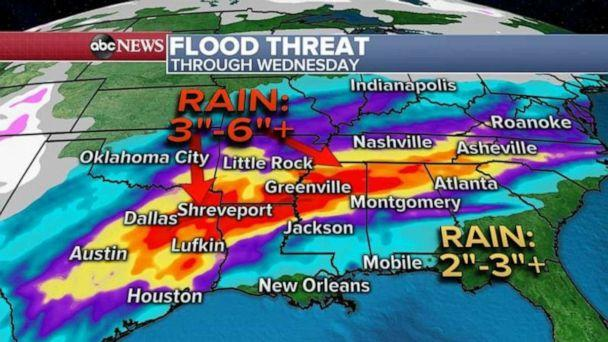 PHOTO: Through the middle of the week, the rain forecast shows a rather widespread area of three to six inches or more of rain from eastern Texas into parts of Alabama and Tennessee. (ABC News)