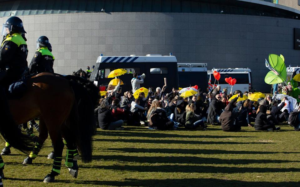 The protest took place on Museumplein, south of Amsterdam city centre  - AP Photo/Peter Dejong