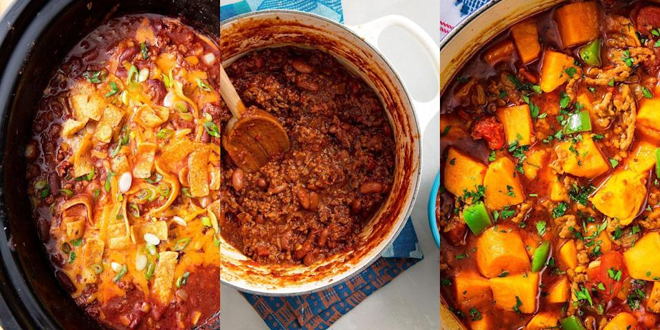 """<p>What's not to love about wholesome and hearty <a href=""""https://www.delish.com/uk/cooking/recipes/a28886316/best-homemade-chilli-recipe/"""" rel=""""nofollow noopener"""" target=""""_blank"""" data-ylk=""""slk:chilli"""" class=""""link rapid-noclick-resp"""">chilli</a> recipe? It's the best type of meal to come home to, and we're obsessed with all the different ways you can cook it! As well as standard <a href=""""https://www.delish.com/uk/cooking/recipes/a28886316/best-homemade-chilli-recipe/"""" rel=""""nofollow noopener"""" target=""""_blank"""" data-ylk=""""slk:Beef Chilli"""" class=""""link rapid-noclick-resp"""">Beef Chilli</a>, we're talking about <a href=""""https://www.delish.com/uk/cooking/recipes/a30208142/instant-pot-chili-recipe/"""" rel=""""nofollow noopener"""" target=""""_blank"""" data-ylk=""""slk:Instant Pot Chilli"""" class=""""link rapid-noclick-resp"""">Instant Pot Chilli</a> and even <a href=""""https://www.delish.com/uk/cooking/recipes/a30684624/slow-cooker-chili-recipe/"""" rel=""""nofollow noopener"""" target=""""_blank"""" data-ylk=""""slk:Slow Cooker Chilli"""" class=""""link rapid-noclick-resp"""">Slow Cooker Chilli</a> (you heard me). You can serve the stuff over a bed of <a href=""""https://www.delish.com/uk/food-news/a28997170/how-to-cook-rice/"""" rel=""""nofollow noopener"""" target=""""_blank"""" data-ylk=""""slk:rice"""" class=""""link rapid-noclick-resp"""">rice</a>, on a <a href=""""https://www.delish.com/uk/cooking/a29557931/how-to-bake-a-potato-in-the-oven/"""" rel=""""nofollow noopener"""" target=""""_blank"""" data-ylk=""""slk:jacket potato"""" class=""""link rapid-noclick-resp"""">jacket potato</a> or even over some <a href=""""https://www.delish.com/uk/cooking/recipes/a28895357/nachos-supreme-recipe/"""" rel=""""nofollow noopener"""" target=""""_blank"""" data-ylk=""""slk:nachos"""" class=""""link rapid-noclick-resp"""">nachos</a>. Need some inspo? Check out some of our favourite chilli recipes now.</p>"""