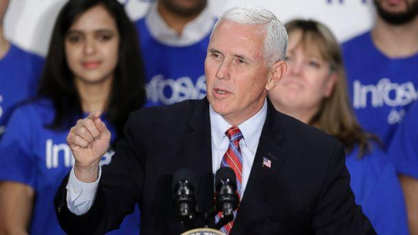 Vice President Mike Pence speaks during a Infosys economic development announcement, Thursday, April 26, 2018, in Indianapolis. (AP)