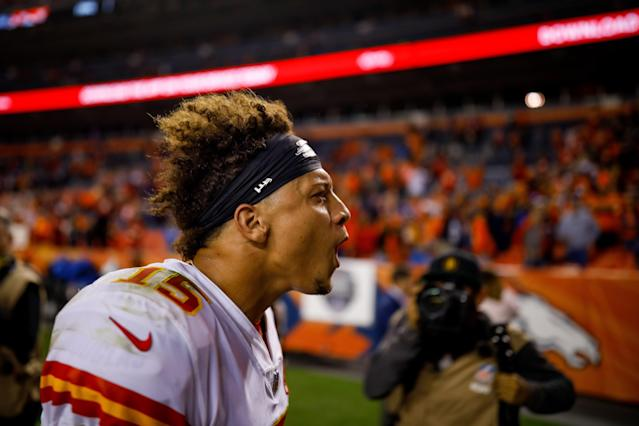 Patrick Mahomes announced his MVP candidacy to the NFL world last season after a thrilling victory on Monday Night Football in Denver. (Getty Images)