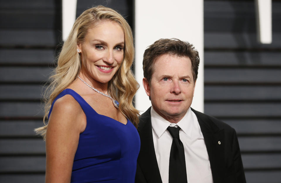 89th Academy Awards - Oscars Vanity Fair Party - Beverly Hills, California, U.S. - 26/02/17 – Michael J. Fox and wife Tracy Pollan. REUTERS/Danny Moloshok