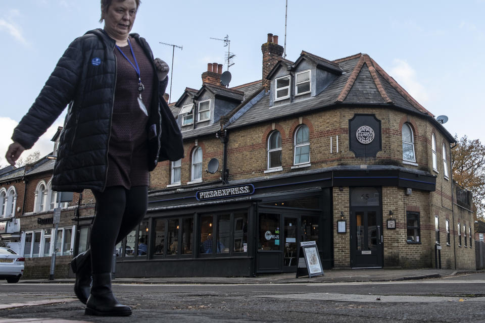 WOKING, ENGLAND - NOVEMBER 18: A general view of Pizza Express restaurant on November 18, 2019 in Woking, England. Prince Andrew claimed in a BBC interview that he attended the Woking branch of Pizza Express with his daughter Beatrice on the night Virginia Roberts has alleged he was with her. (Photo by Dan Kitwood/Getty Images)