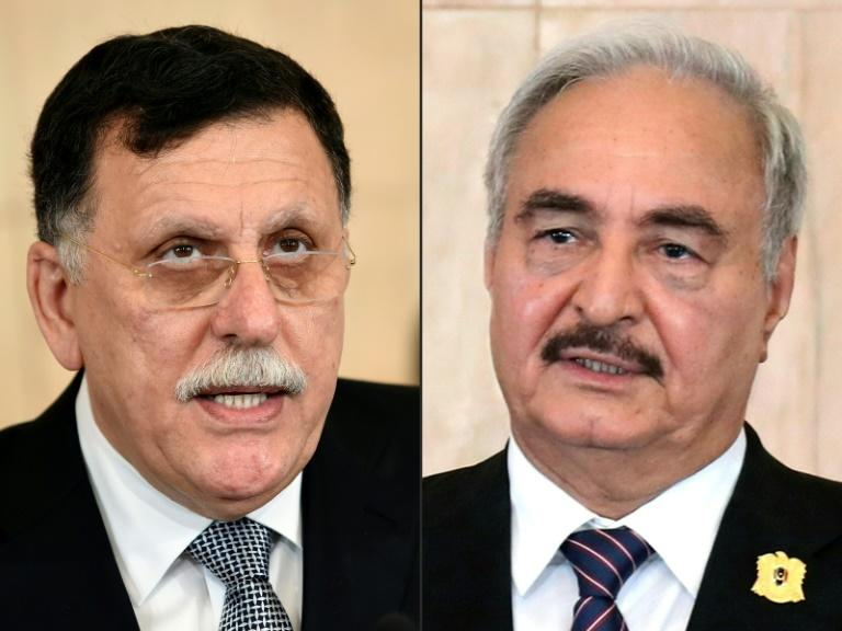 Both Libya's UN-recognised Prime Minister Fayez al-Sarraj and strongman Khalifa Haftar are expecte to attend the Berlin conference (AFP Photo/FETHI BELAID, HO)