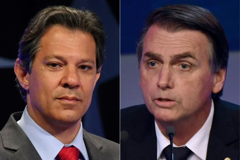 Brazilians go to the polls on October 28, 2018 to choose between two very different candidates -- leftist Fernando Haddad (L) of the Workers Party and far-right populist Jair Bolsonaro (R), both seen here in file photos