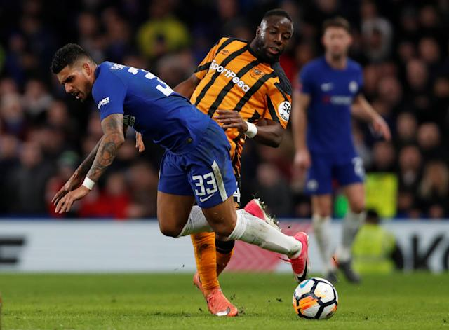 Soccer Football - FA Cup Fifth Round - Chelsea vs Hull City - Stamford Bridge, London, Britain - February 16, 2018 Chelsea's Emerson Palmieri in action with Hull City's Adama Diomande Action Images via Reuters/Paul Childs