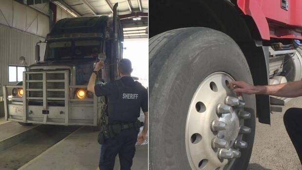 The Alberta Sheriffs Highway Patrol, along with some law enforcement partners, conducted hundreds of additional inspections of commercial vehicles during the three-day Roadcheck program. (Dave Gilson/CBC - image credit)