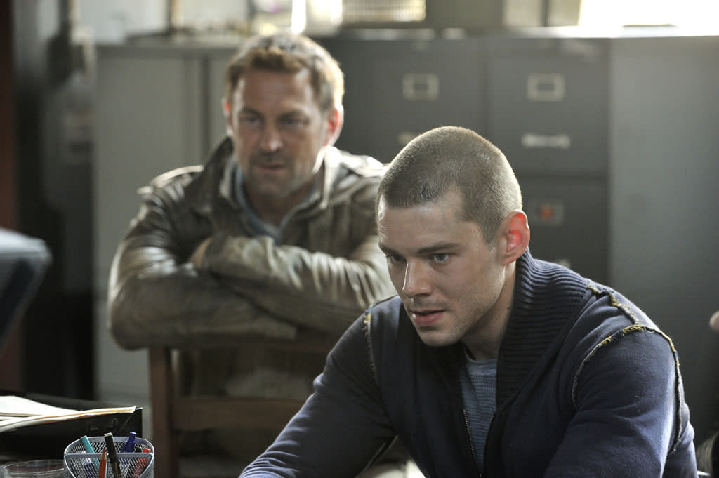 """Grant Bowler as Joshua Nolan and Brian J. Smith as Gordon McClintock in the """"Defiance"""" episode, """"I Just Wasn't Made for These Times."""""""