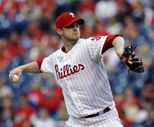 Philadelphia Phillies starting pitcher Kyle Kendrick throws against the Los Angeles Dodgers in the first inning of a baseball game, Wednesday, June 6, 2012, in Philadelphia. (AP Photo/H. Rumph Jr)