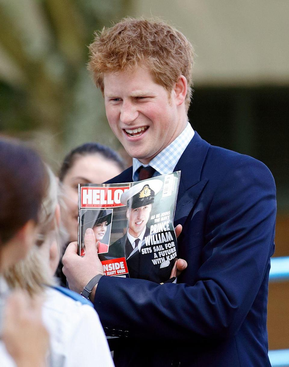 <p>Prince Harry appears weirded out by a magazine cover featuring his brother and Kate Middleton. Perhaps there are some things that one just doesn't get used to. <br></p>