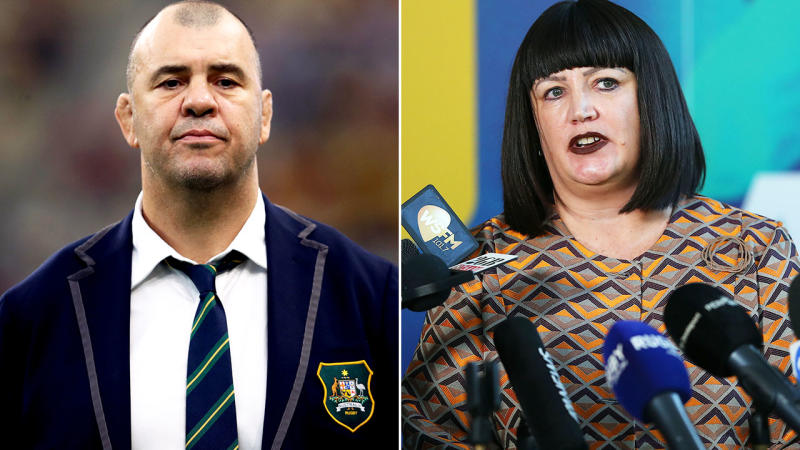 Michael Cheika and Raelene Castle, pictured here in their roles with Rugby Australia.