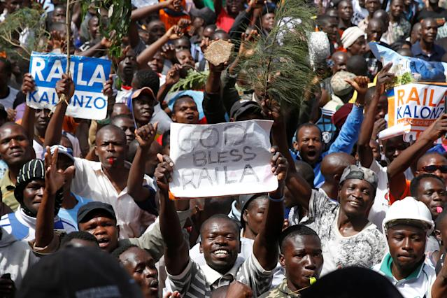 "<p>Supporters of opposition leader Raila Odinga attend a mock ""swearing-in"" ceremony at Uhuru Park in downtown Nairobi, Kenya, Tuesday, Jan. 30, 2018. (Photo: Ben Curtis/AP) </p>"