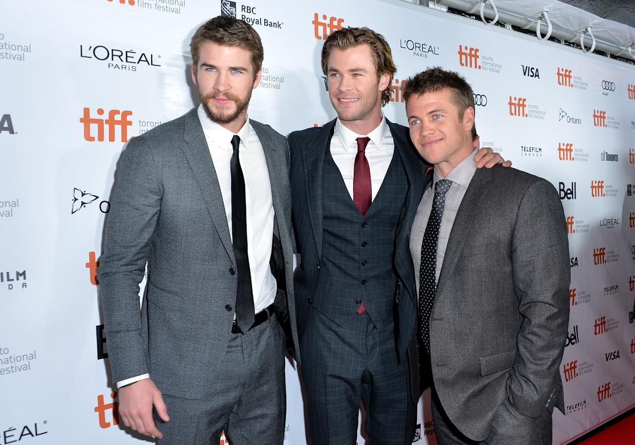 "TORONTO, ON - SEPTEMBER 08: Actors Liam,Chris and Luke Hemsworth attend the ""Rush"" premiere during the 2013 Toronto International Film Festival at Roy Thomson Hall on September 8, 2013 in Toronto, Canada. (Photo by Alberto E. Rodriguez/Getty Images)"