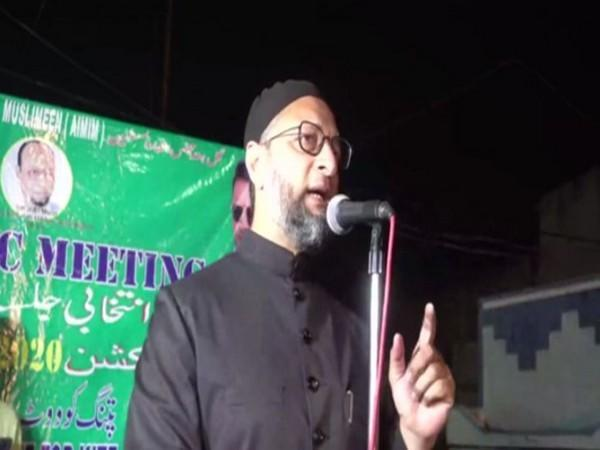 AIMIM chief Asaduddin Owaisi speaking at a public meeting in Hyderabad.