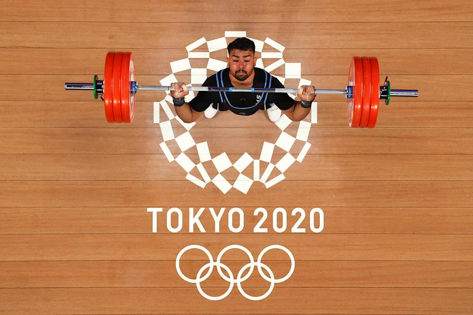 TOKYO, JAPAN - JULY 31: Amur Salim Ramadhan Al-Kanjari of Team Oman competes during the Weightlifting - Men's 81kg Group B on day eight of the Tokyo 2020 Olympic Games at Tokyo International Forum on July 31, 2021 in Tokyo, Japan. (Photo by Chris Graythen/Getty Images)