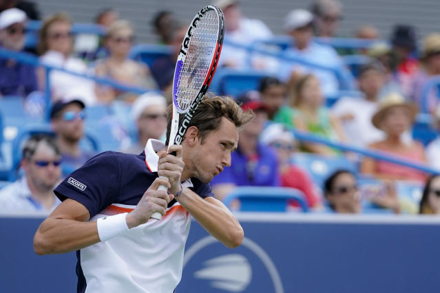 Daniil Medvedev, of Russia, returns to David Goffin, of Belgium, in the men's final match during the Western & Southern Open tennis tournament Sunday, Aug. 18, 2019, in Mason, Ohio. (AP Photo/John Minchillo)