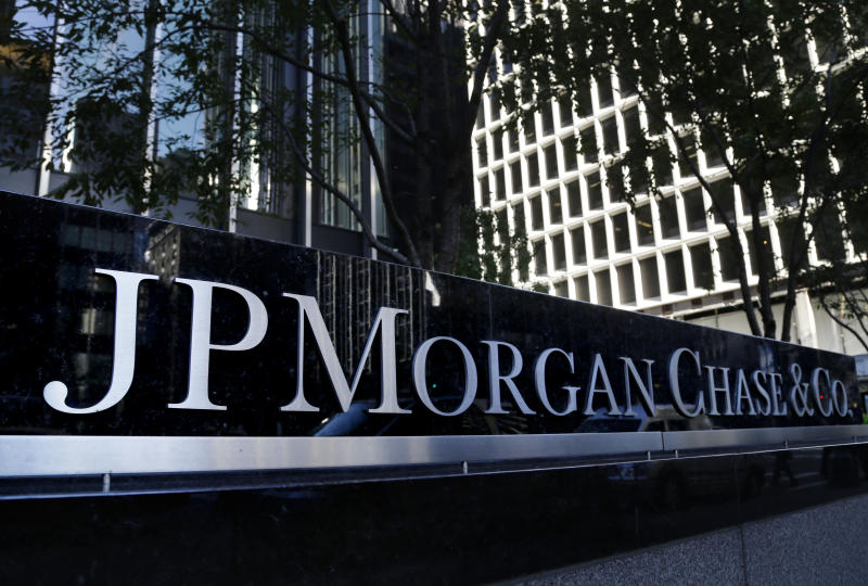 The JPMorgan Chase & Co. logo is displayed at their headquarters in New York, Monday, Oct. 21, 2013. (AP Photo/Seth Wenig)