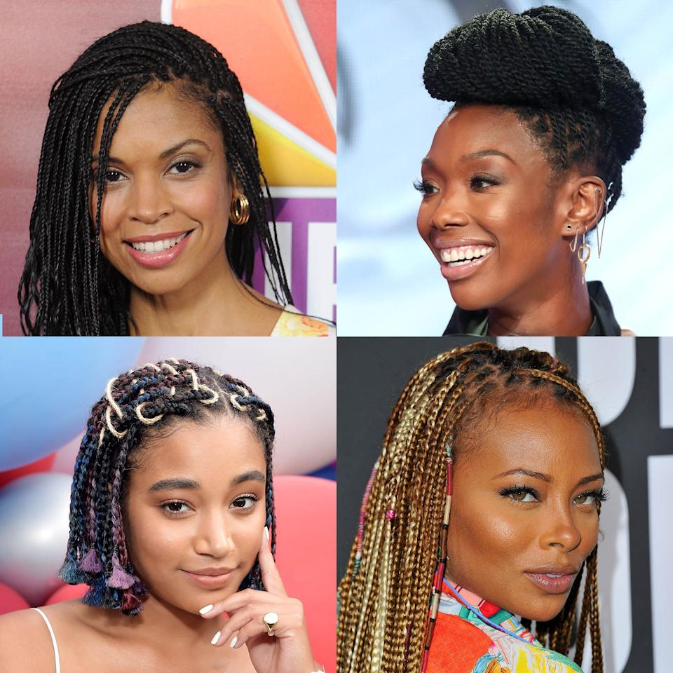 "<p>Box braids have been around for thousands of years and can be traced all the way back to Africa, according to <em><a href=""https://www.ebony.com/style/history-box-braids/#axzz4rJSA4WVj"" target=""_blank"">Ebony</a></em><a href=""https://www.ebony.com/style/history-box-braids/#axzz4rJSA4WVj"" target=""_blank""></a>. The style saw a big resurgence in mainstream media when Janet Jackson wore them in her 1993 film debut, <em><a href=""https://www.amazon.com/Poetic-Justice-Filmmaking-South-Central/dp/0385309147"" target=""_blank"">Poetic Justice</a></em><a href=""https://www.amazon.com/Poetic-Justice-Filmmaking-South-Central/dp/0385309147"" target=""_blank""></a>. Since then, we've seen more and more <a href=""https://www.oprahmag.com/beauty/hair/g25382071/best-celebrity-hairstyles/"" target=""_blank"">celebrities</a> proudly rocking them everywhere from the red carpet to magazine photoshoots. If you're looking to try the look yourself—whether it's with your <a href=""https://www.oprahmag.com/beauty/hair/g23334767/how-to-style-baby-hairs/"" target=""_blank"">baby hairs</a> slicked down to perfection or as your up do look <a href=""https://www.oprahmag.com/beauty/hair/g27614052/natural-hairstyles-for-wedding/"" target=""_blank"">for a wedding</a>,  let these pictures of Tessa Thompson, Kerry Washington, and more serve as inspiration the next time you want to style your box braids. </p>"