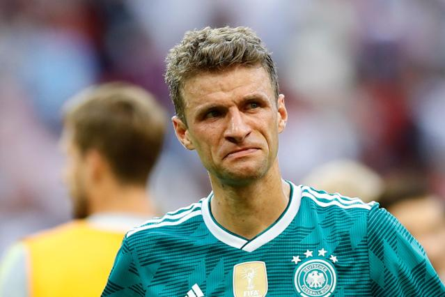 <p>Thomas Muller of Germany reacts after losing the 2018 FIFA World Cup Russia Group F match against Korea Republic at the Kazan Arena in Kazan, Russia on June 27, 2018. (Photo by Gokhan Balci/Anadolu Agency/Getty Images) </p>