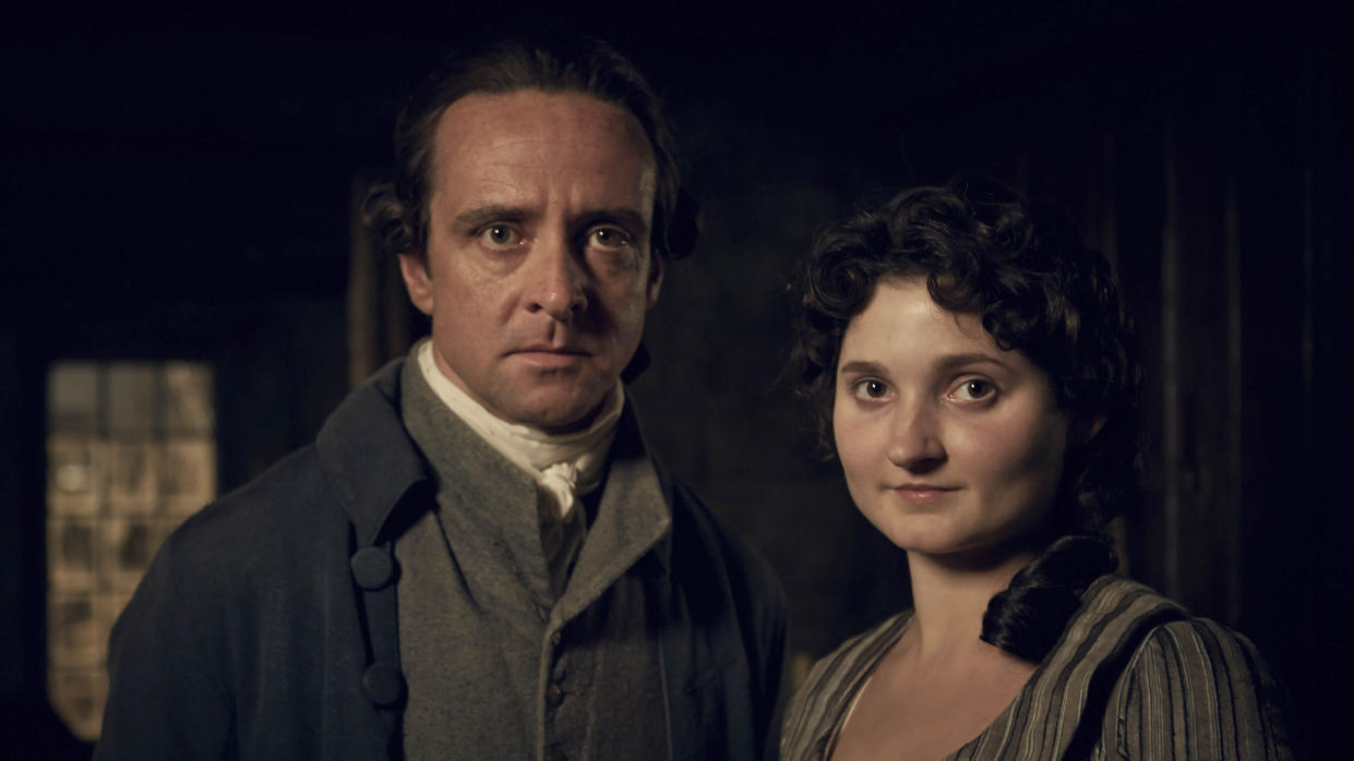 Captain Andrew Blamey (Richard Harrington) and Verity Poldark (Ruby Bentall) in 'Poldark'. (Credit: BBC)