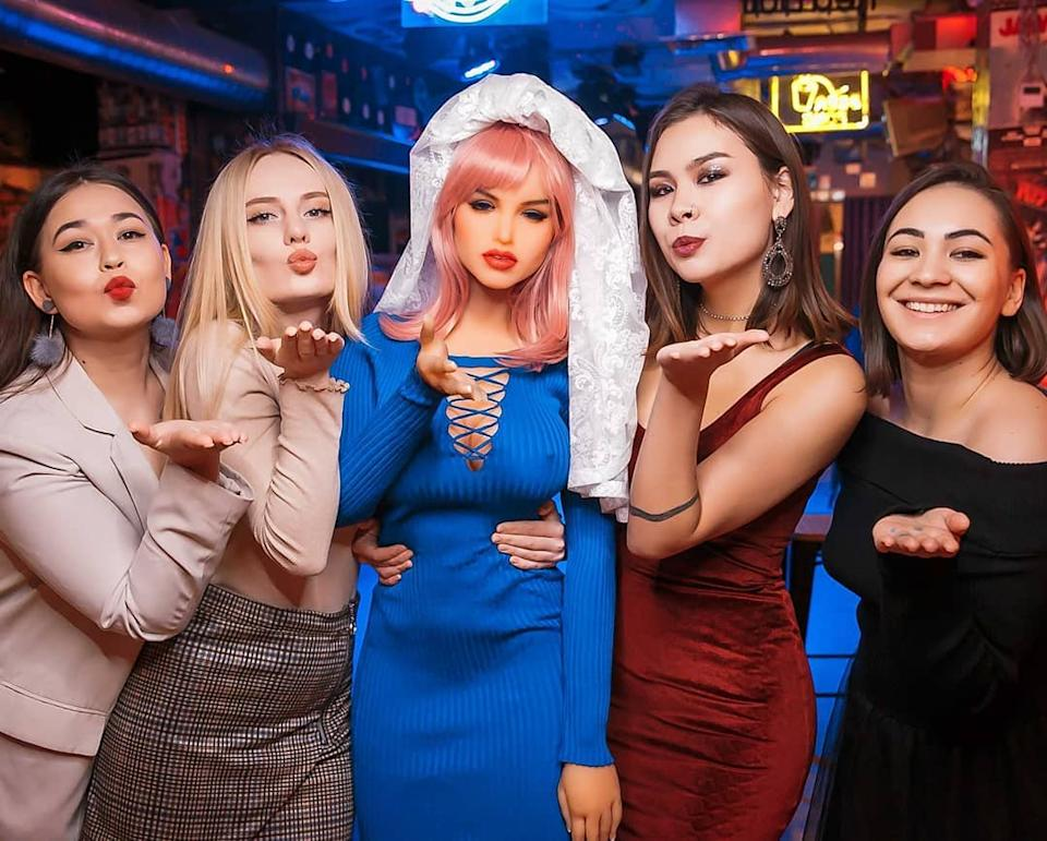 Sex doll Margo with friends on her hen's night