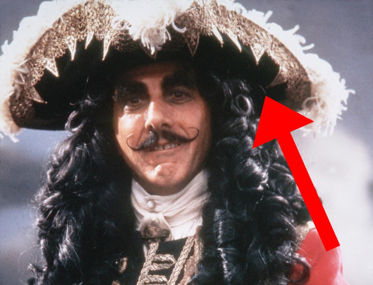 <p>The hat of Dustin Hoffman's croc-hating villain Captain Hook was designed to look like the encroaching jaws of a killer crocodile.</p>