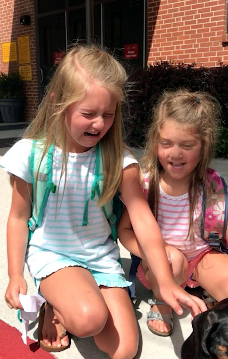 The girls immediately burst into tears! Photo: Caters