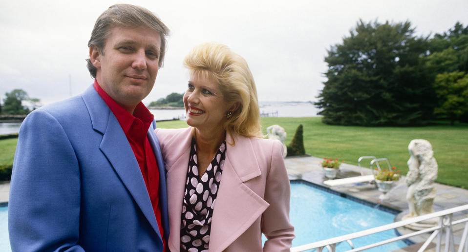 Donald Trump with first wife, Ivana, at their Greenwich, Ct. mansion in 1987