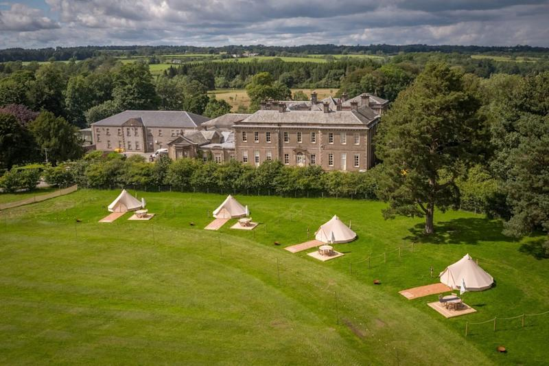 Gisburne Park Pop Up's socially distant yurt camping facilities  (Photo: HuffPost UK)