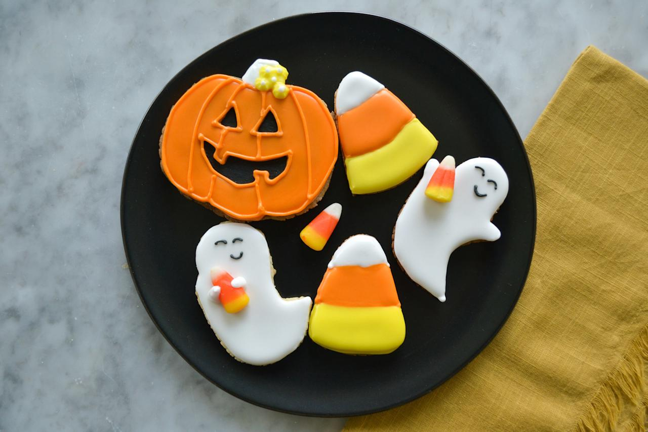"""<p><strong>Recipe: <a href=""""https://www.southernliving.com/recipes/candy-corn-sugar-cookies"""">Candy Corn Cookies</a></strong></p> <p>Ditch the bowl of sugary candy and switch it out for a plate of these cute Candy Corn Cookies.</p>"""