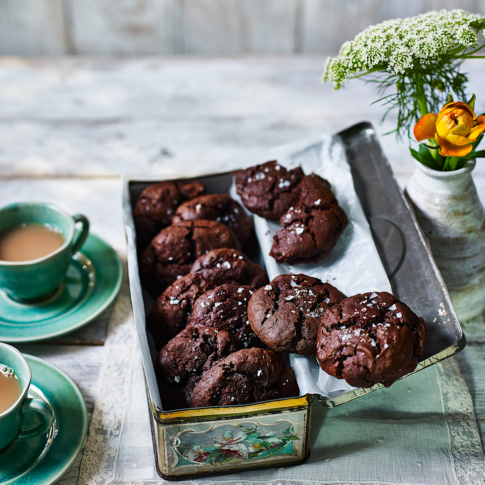 """<p>These have less sugar and butter than standard cookies. Make sure you use a dark chocolate with a high cocoa content for a rich, grown-up result. Rye flour adds a lovely toasty flavour.</p><p><strong><br>Recipe: <a href=""""https://www.goodhousekeeping.com/uk/food/recipes/a575850/dark-chocolate-rye-cookies/"""" rel=""""nofollow noopener"""" target=""""_blank"""" data-ylk=""""slk:Dark chocolate rye cookies"""" class=""""link rapid-noclick-resp"""">Dark chocolate rye cookies</a></strong></p>"""
