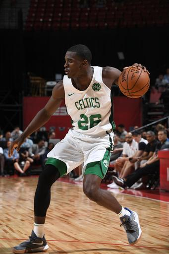 LAS VEGAS, NV - JULY 12: Jabari Bird #26 of the Boston Celtics handles the ball against the New York Knicks during the 2018 Las Vegas Summer League on July 12, 2018 at the Thomas & Mack Center in Las Vegas, Nevada. (Photo by Garrett Ellwood/NBAE via Getty Images)