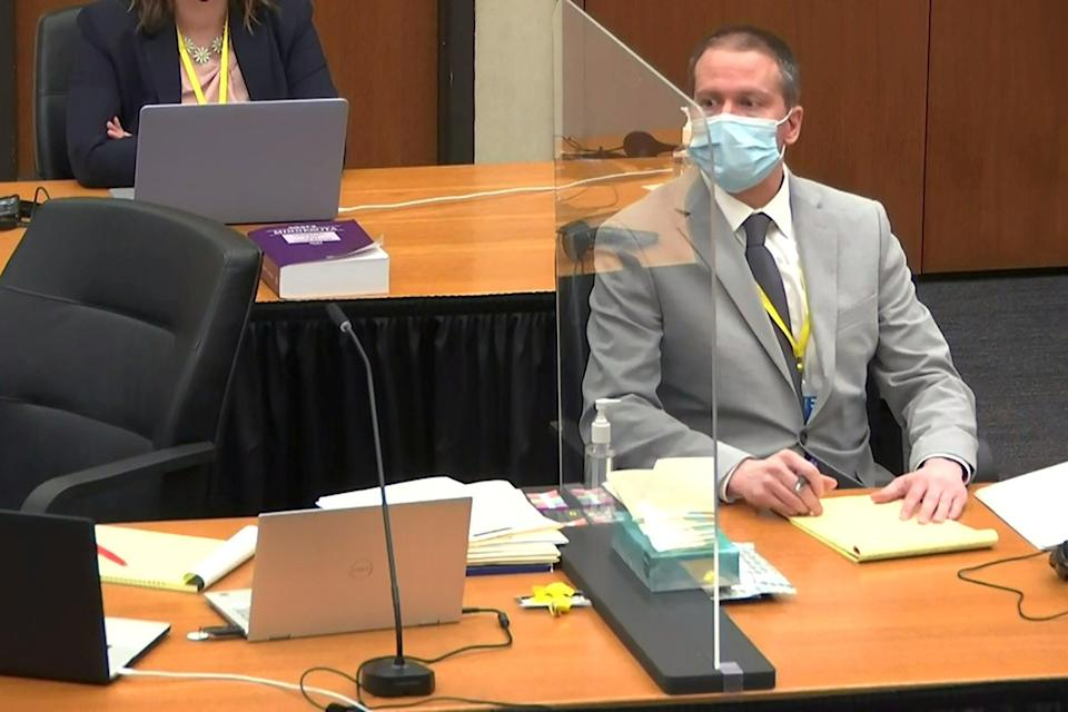 Former Minneapolis police officer Derek Chauvin attends the fourth day of his trial for second-degree murder, third-degree murder and second-degree manslaughter in the death of George Floyd (via REUTERS)