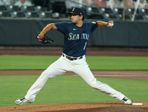 Seattle Mariners starter Marco Gonzales delivers a pitch during the first inning of a baseball game against the Texas Rangers, Monday, Sept. 7, 2020, in Seattle. (AP Photo/Stephen Brashear)