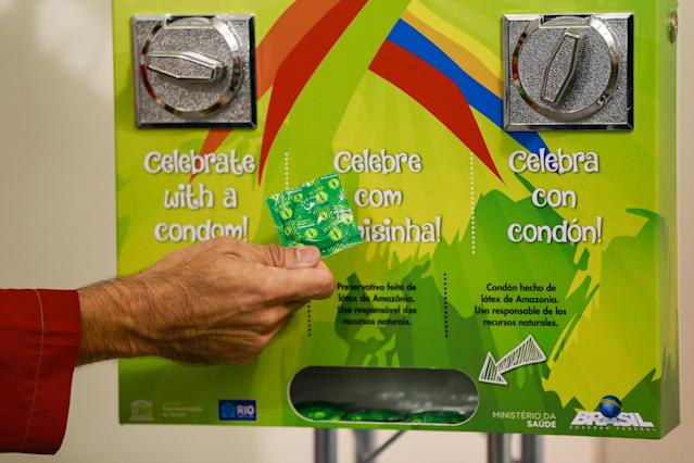 Athletes were able to access condoms via a vending machine at the 2016 Summer Olympics in Rio. (Getty)