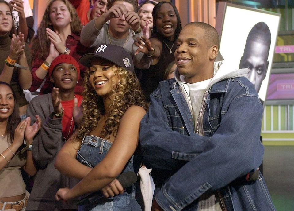 <p>Beyoncé and Solange Knowles appeared alongside Jay-Z on the MTV music show TRL, which was held in Time Square.</p>