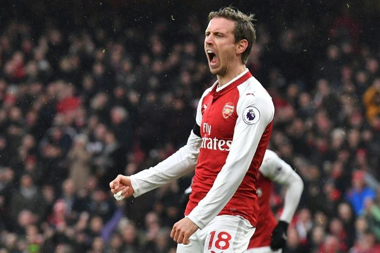 Arsenal's defender Nacho Monreal celebrates after scoring during the English Premier League football match against Crystal Palace January 20, 2018