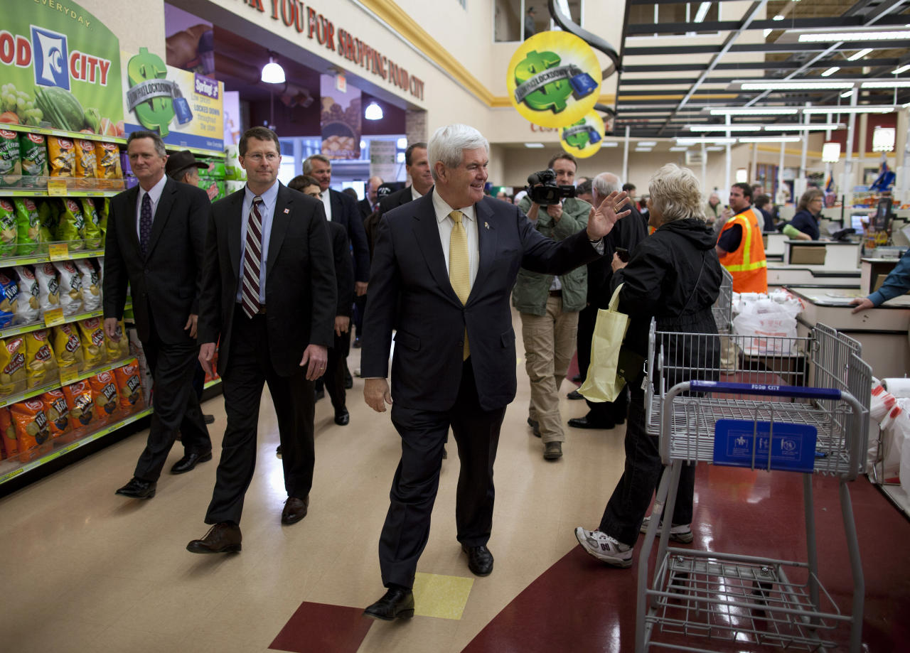 Republican presidential candidate, former House Speaker Newt Gingrich arrives for a campaign stop at Food City, Monday, March 5, 2012, in Kingsport, Tenn. (AP Photo/Evan Vucci)