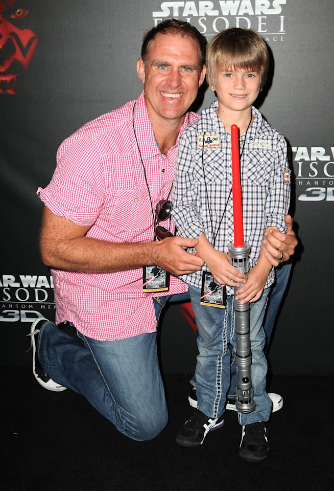 "SYDNEY, AUSTRALIA - FEBRUARY 05:  Matthew Hayden and son Joshua arrive at the ""Star Wars Episode One"" 3D Sydney premiere on February 5, 2012 in Sydney, Australia.  (Photo by Don Arnold/WireImage)"