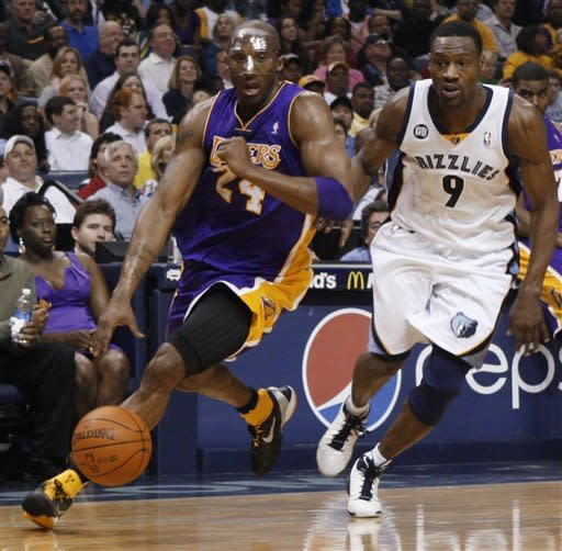 Memphis Grizzlies guard Tony Allen (9) defends Los Angeles Lakers guard Kobe Bryant (24) in the first half of an NBA basketball game Tuesday, March 13, 2012, in Memphis, Tenn. (AP Photo/Alan Spearman)