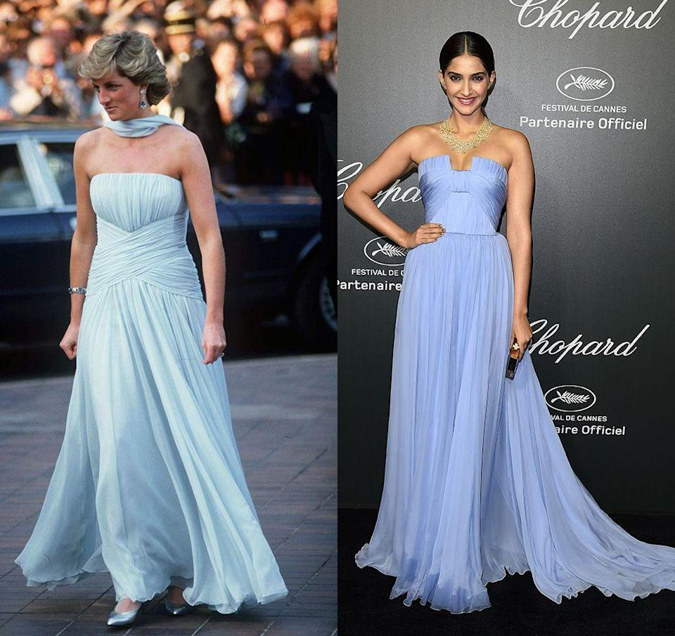 """<p>When Princess Diana stepped out at the Cannes Film Festival in a light blue Catherine Walker chiffon gown, people immediately drew similarities to <a href=""""https://www.marieclaire.co.uk/fashion/10-of-grace-kelly-s-most-beautiful-on-screen-outfits-21124"""" rel=""""nofollow noopener"""" target=""""_blank"""" data-ylk=""""slk:a gown worn by Grace Kelly"""" class=""""link rapid-noclick-resp"""">a gown worn by Grace Kelly</a> decades before. But in 2014, actress Sonam Kapoor's similar ballgown was reminiscent of the late Lady Di. </p>"""