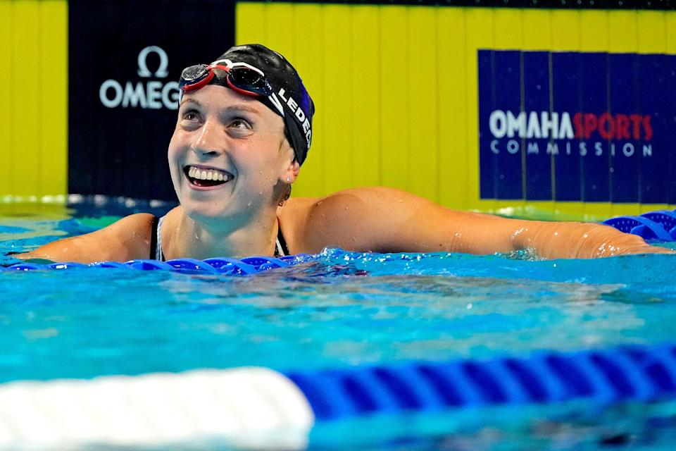 Katie Ledecky reacts after winning the 800 freestyle  during the U.S. Olympic Team Trials in Omaha.