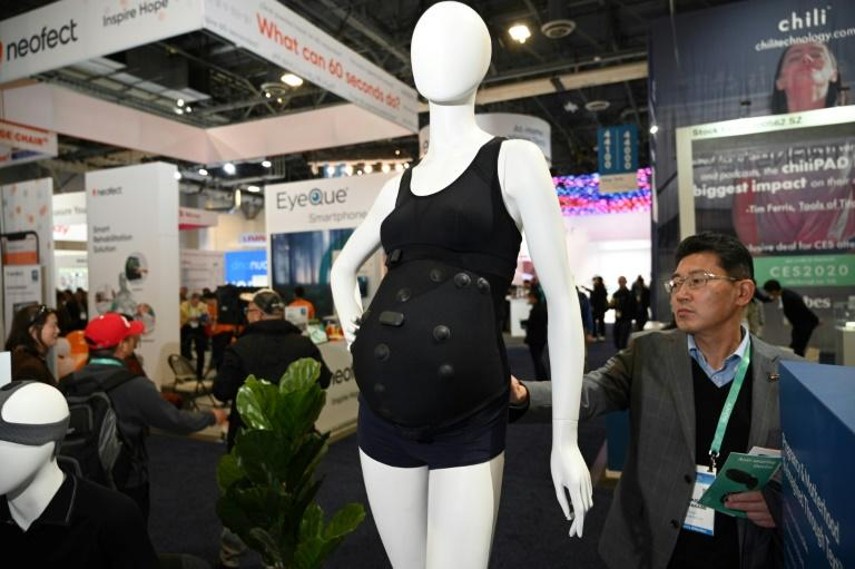 Pregnant women could monitor the health of their fetus with prototype smart clothing from Canadian startup Myant, part of a new class of textile-based wearable tech on display at the 2020 Consumer Electronics Show in Las Vegas (AFP Photo/Robyn Beck)