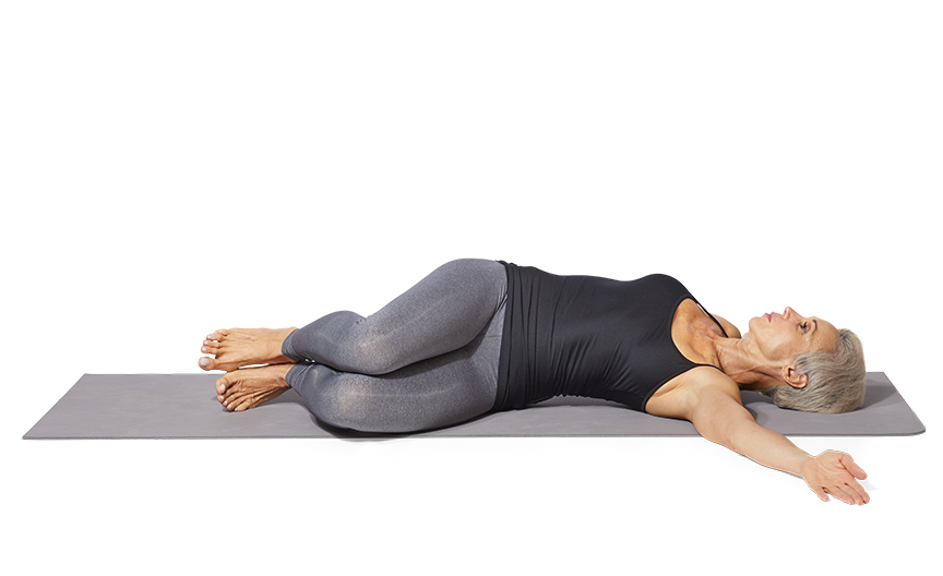 """<p><strong>This move extends and rotates the spine and stretches the lower back and hips.</strong></p><ol><li>Begin lying on your back with knees bent and arms by your side or out to the sides like the letter """"T"""" to stabilize.</li><li>While keeping your upper back and shoulders on the floor, slowly allow your knees to drift all the way to the right side until you feel a gentle twist and stretch in your lower back area. Try keeping your knees glued together as you this.</li><li>After a few seconds, pick up your knees and allow them to fall to the left side, all while keeping knees together and should blades down. Gentle continue to rock side to side, allowing a few seconds of stretch on each side.</li><li>Repeat for 5 twists to each side.</li></ol>"""